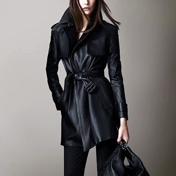 Spring And Autumn Women PU Leather Trench Long Design Faux Leather Long Coat Long Leather Jackets