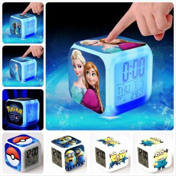 DCCKL72 Minions Pokemon go Princess Elsa Doggy Glowing digital LED alarm clock reloj despertador Pawed Cartoon Patrolling Children Gift