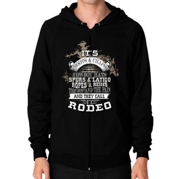 ITS BOOTS CHAPS Zip Hoodie (on man)