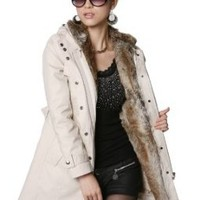 Amazon.com: SGG Winter Warm Fur Jacket Wrap Trench Coat Hooded Womens: Clothing