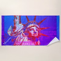 Statue of Liberty with 4th of July Word Cloud Beach Towel