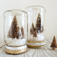 Bottle Brush Christmas Tree Snow Globe Jar in Gold