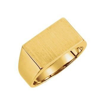 14k Yellow Gold Rectangle Solid Back Signet Ring