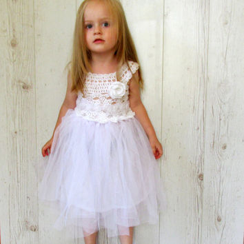 White flower girl dress, girls tutu dress, crochet tutu dress, toddler dress, baby dress, elegant tutu dress, tulle dress