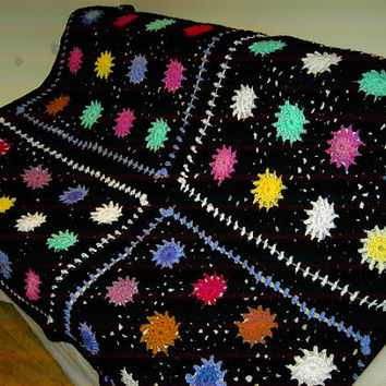CROCHET BLANKET Handmade-  Made in 4 panels sun style multi colour style (nannycheryl original)  641 m