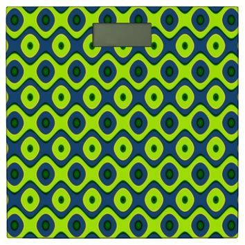 Colorful Yellow Blue and Green Retro Pattern Bathroom Scale