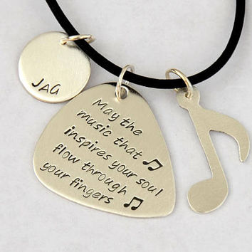 Music Note and Guitar Pick Sterling Silver Necklace Handmade to Inspire your Soul with Music – 925 GP2408