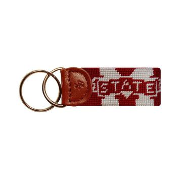 Mississippi State Needlepoint Key Fob in Maroon by Smathers & Branson