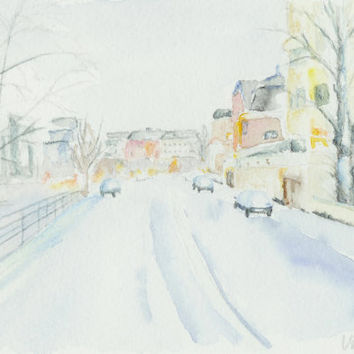A winter landscape in Helsinki, Finland. Original watercolor painting. Unique Finnish art. Eira, Helsinki, Winter. Finnish winter painting.