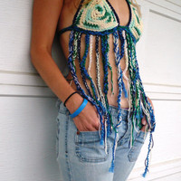 Blue Green Halter Top, crochet, tribal, festival, hippie