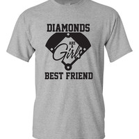 Diamond's are a girl's best friend tshirt. baseball fan. baseball girlfriend. baseball wife. baseball sister. baseball lover gift. TH-106Blk