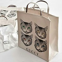 GUCCI Popular Women Shopping Bag Four Cat Print Canvas Shoulder Bag Handbag I-AGG-CZDL