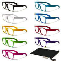 Clear Lens Wayfarer Glasses + FREE MICROFIBER POUCH Nerdy Retro Hipster Geek NEW