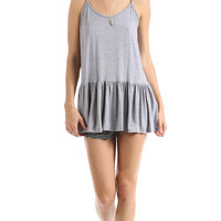 RUFFLED SPAGHETTI STRAP TANK - HEATHER GREY