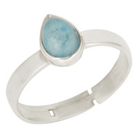 Natural Larimar Gemstone Pear Shape Sterling Silver Stacking Ring