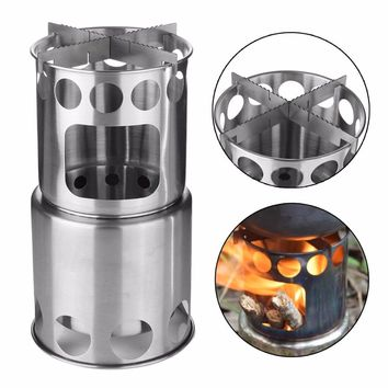 Wood Burning Camping Stove Stainless Steel for Traveling