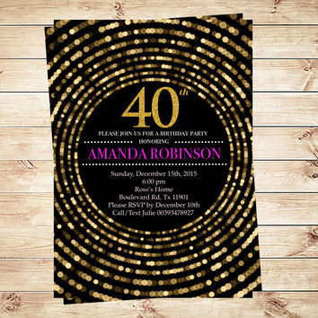 Diamond black and gold birthday party invitation, Diamond 40th Birthday Invitation, Black Gold Birthday Party. Art Party Invitation
