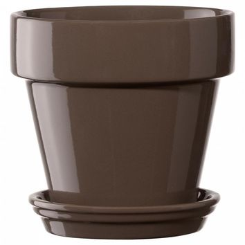 Deroma 5700364AF Ceramic Planter with Saucer, Small, Brown