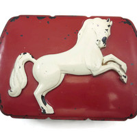 Horse Box - Red White Black, Bakelite, Hickok