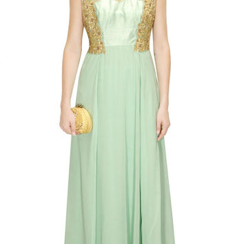 Aneesh Aggarwal light green colour floor length kurta set
