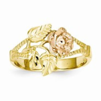 14k Two-tone Diamond-Cut Rose Ring