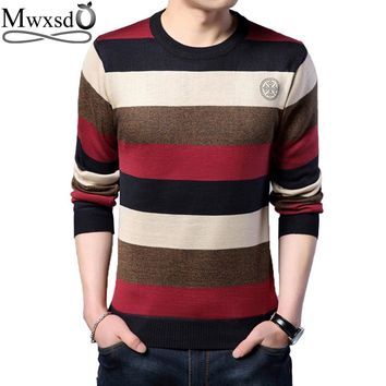 Mwxsd brand Men's casual striped pullover sweater mens winter jumpers with diamonds male cotton Christmas sweater