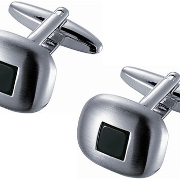 Brushed Rhodium Square Cufflinks with Black Onyx