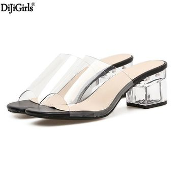 6cm Low Transparent Slippers Womens Sandals Summer Slippers Crystal Shoes Casual Thick Heels Slippers Sandalias Verano Mujer