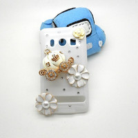 Handmade hard case for HTC EVO: Bling pumpkin with flowers (customized are welcome)