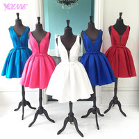 Royal Blue Prom Dresses Party Evening Gown V-neck Stain Bow Back Zipper Knee-Length Formal Women Dress Ball Gowns