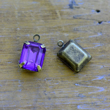 4 - Small Rectangle Jewel Charms PURPLE Drop Gem Rectangle 8x10mm Brass Claw Setting Charm or Link Gold Antique Bronze Silver (AW037)