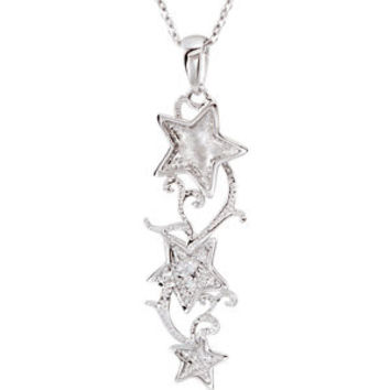 """Sterling Silver Shoot for the Stars CZ 18"""" Necklace"""