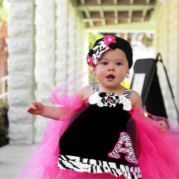 Zebra Tutu, Zebra Tutu Dress, Custom Tutu Dress, Birthday Tutu, Pageant OOC, Tutu and Hat Set, Monogram Dress, Zebra Clothing, Pink Zebra