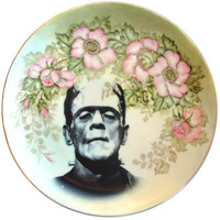 Frankenstein Portrait Plate - Altered Vintage Plate 10""