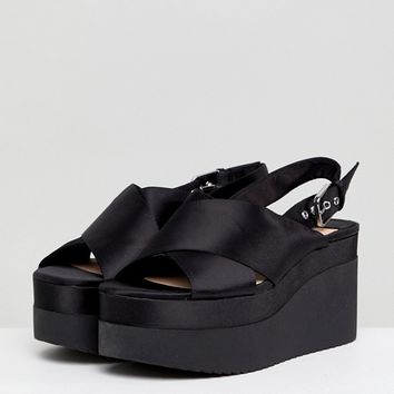 Stradivarius Cross Front Flatform Sandal at asos.com
