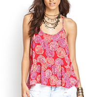 FOREVER 21 Abstract Y-Back Cami Red/Purple