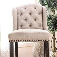 Sania II Rustic Bar Chair, Ivory & Antique Black Legs Finish, Set of 2