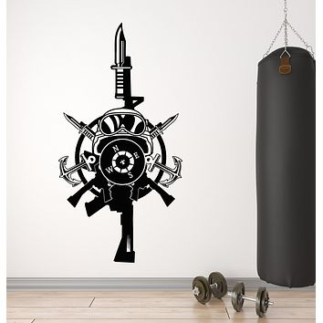 Vinyl Wall Decal Military Special Forces Soldier Equipment Logo Weapon Stickers (4297ig)