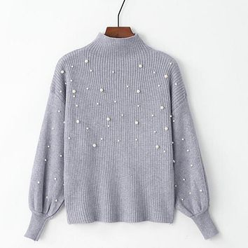 Autumn Winter Pearl Beading Sweater Women Pullovers Stand Collar Knit Jumper Casual Tight Cropped Sweater Three Quarter Sleeve