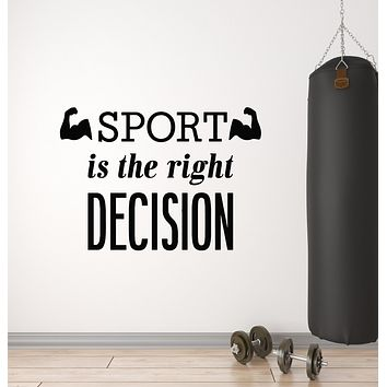 Vinyl Wall Decal Sport Is The Right Decision Quote Gym Fitness Muscled Stickers Mural (g745)