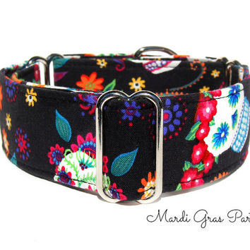 Sugar Skulls Martingale Collar - 1.5 Inch martingale, Day of the Dead, Italian greyhound collar, Mardi Gras, Greyhound Collar, Whippet