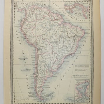 1881 South America Map, South America Decor, Antique Map of South America, Red Blue Map Art, Vintage Home Decor, 1881 Rand McNally Map