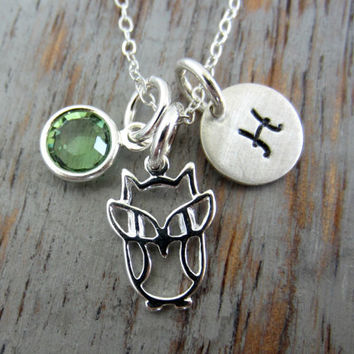 Sterling Silver Baby Owl Necklace, Personalized with Sterling Initial Disc and Swarovski Crystal Birthstone Charm, Woodland Creature, Hoot