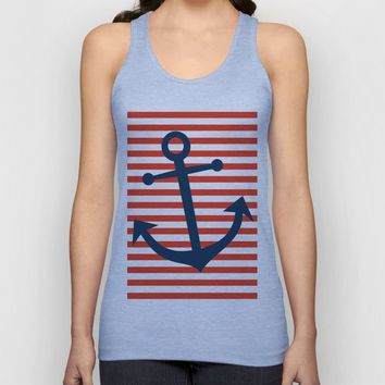 Nautical Anchor Unisex Tank Top by allisone