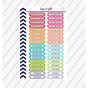 College Stickers, Back To School Stickers, Academic Tracker Stickers, College Study Guide,  Perfect For Erin Condren Planner:  SQ-93