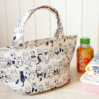 Japanese Lunchbox - Kawaii Kokka Fabric Insulated - Sandwich Snack Lunch Bag Tote