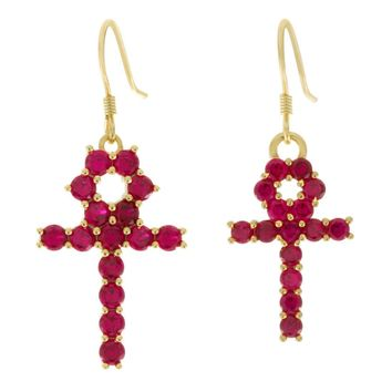 The Hanging Ankh Earrings (Red)