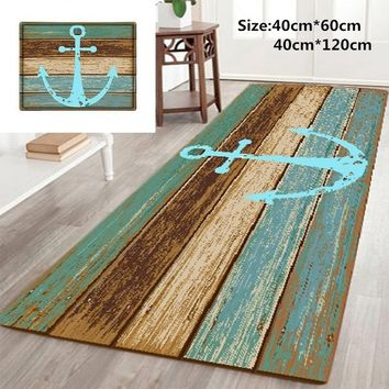 Home & Living Nautical Anchor Rustic Wood-3D Rugs Bath Mat Bath Rugs Anti-Slip Kitchen Mats Bathroom Mat Bathroom Carpet