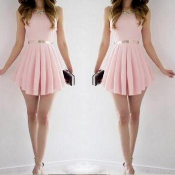 Pink is tender pink skirt sleeveless backless dress