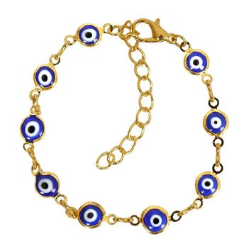 Evil Eye Protection Amulet Royal Blue Eye Beads Gold-Tone Lucky Charms Bracelet